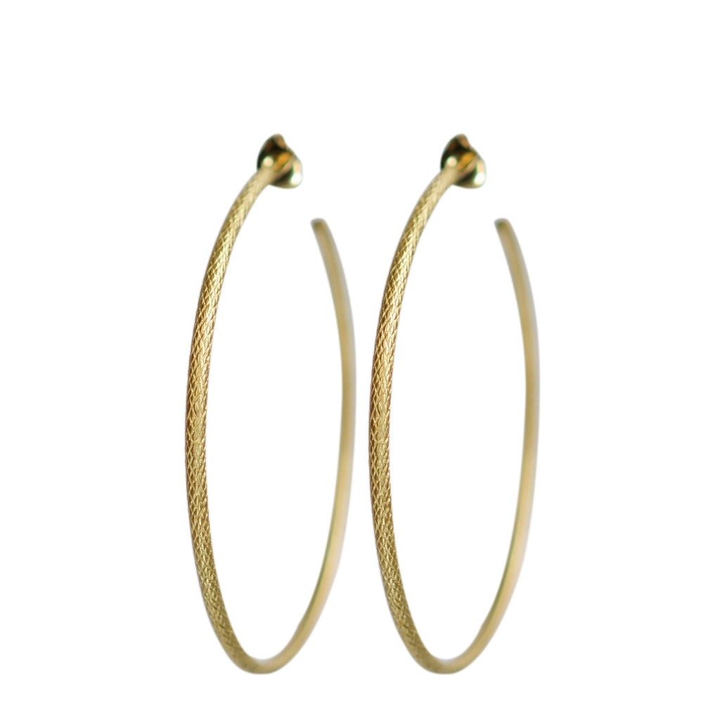 18K Gold Large Fish Scale Hoop Earrings