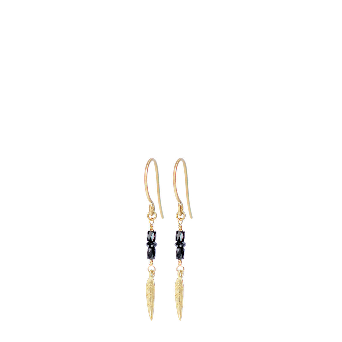 18K Gold Short Black Diamond Earrings with Feathers