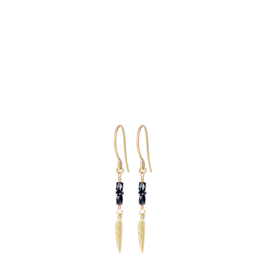 38471cc85 18K Gold Short Black Diamond Earrings with Feathers