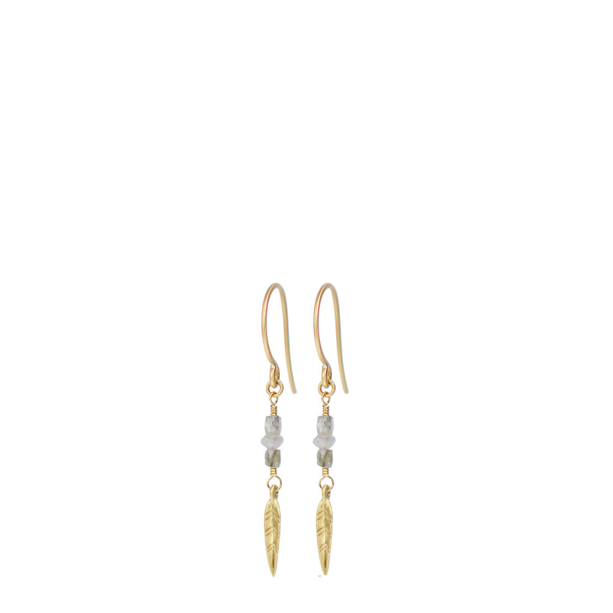 18K Gold Short Grey Diamond Earrings with Feathers