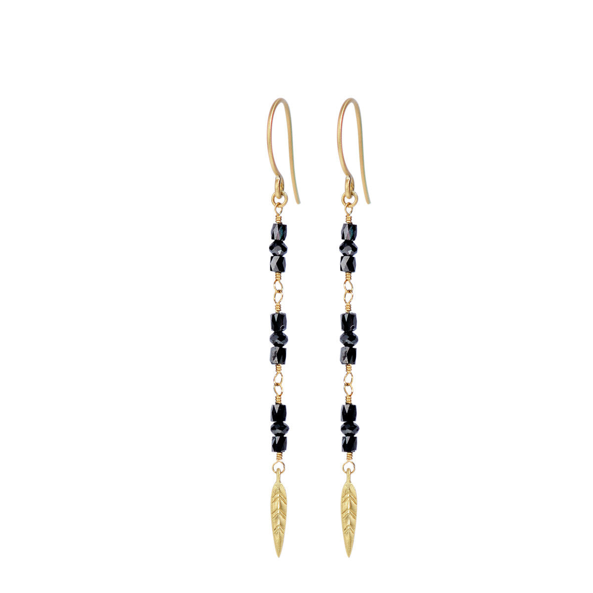 18K Gold Long Black Diamond Earrings with Feathers
