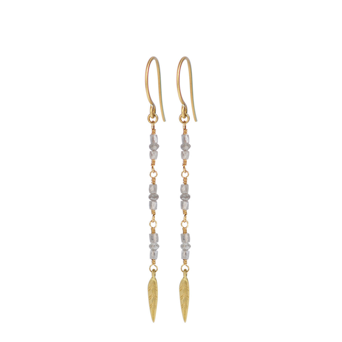 18K Gold Long Grey Diamond Earrings with Feathers
