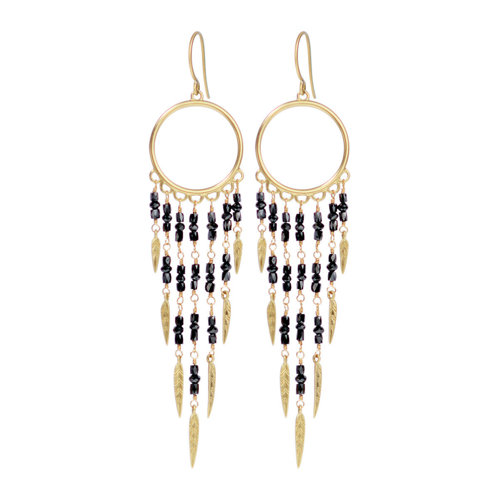 18K Gold Dream Catcher Earrings with Black Diamonds