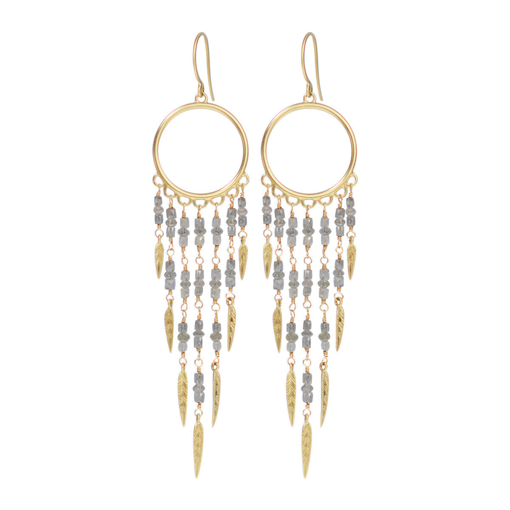 18k Gold Dream Catcher Earrings With Grey Diamonds Me Ro