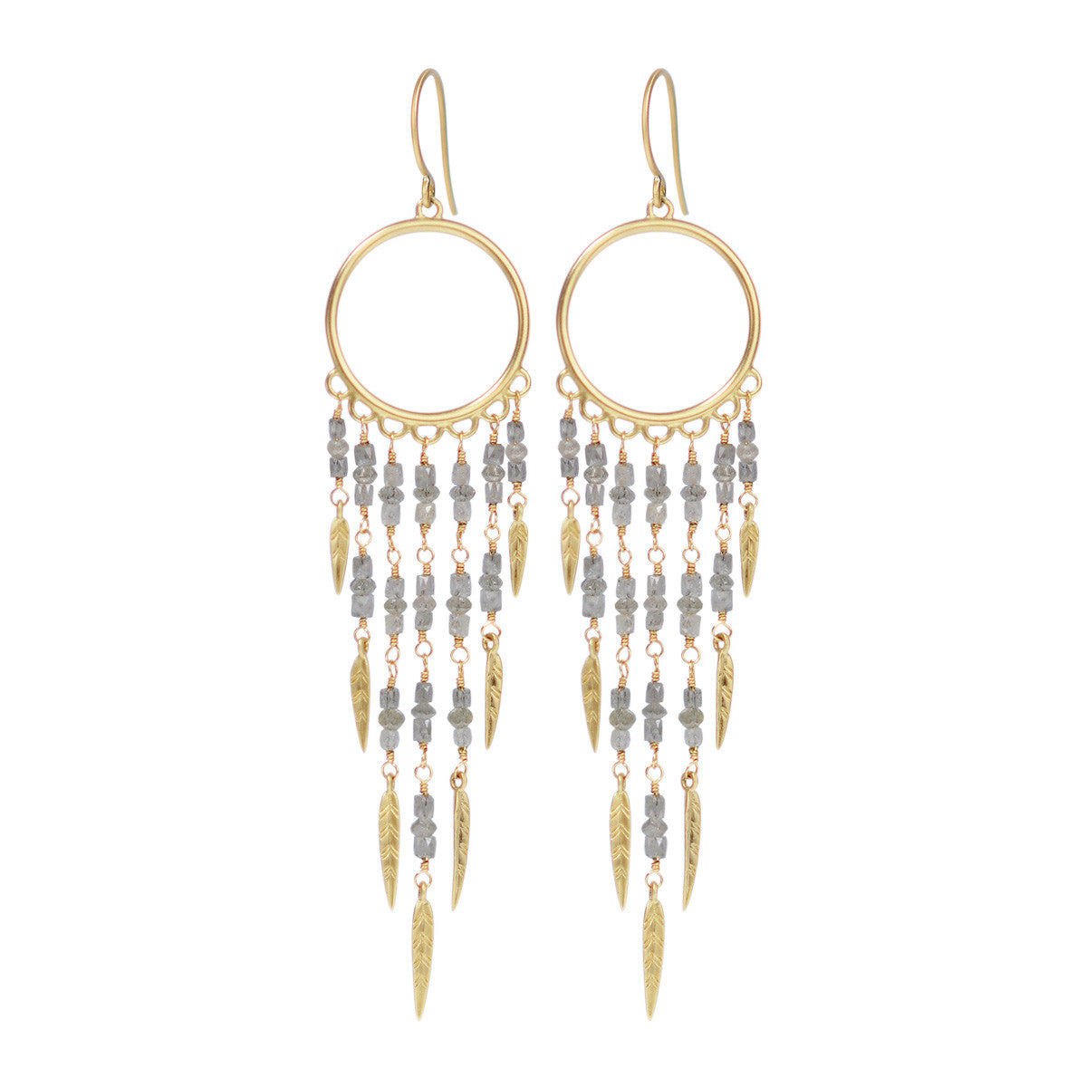 18K Gold Dream Catcher Earrings with Grey Diamonds