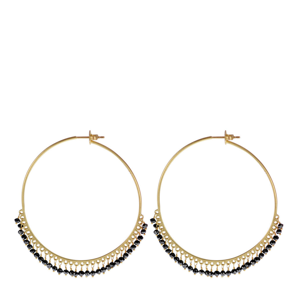 18K Gold Large Black Diamond Endless Hoop Earrings