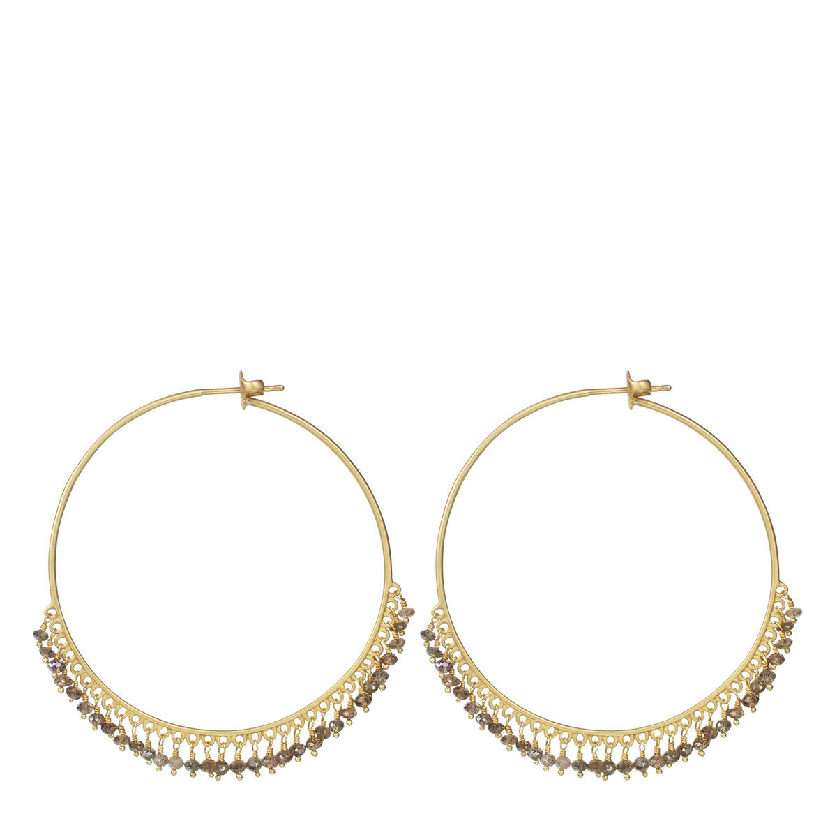 18k Gold Large Brown Diamond Endless Hoop Earrings