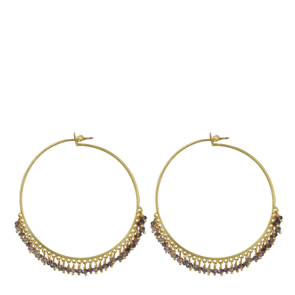 18K Gold Large Grey Sapphire Endless Hoop Earrings