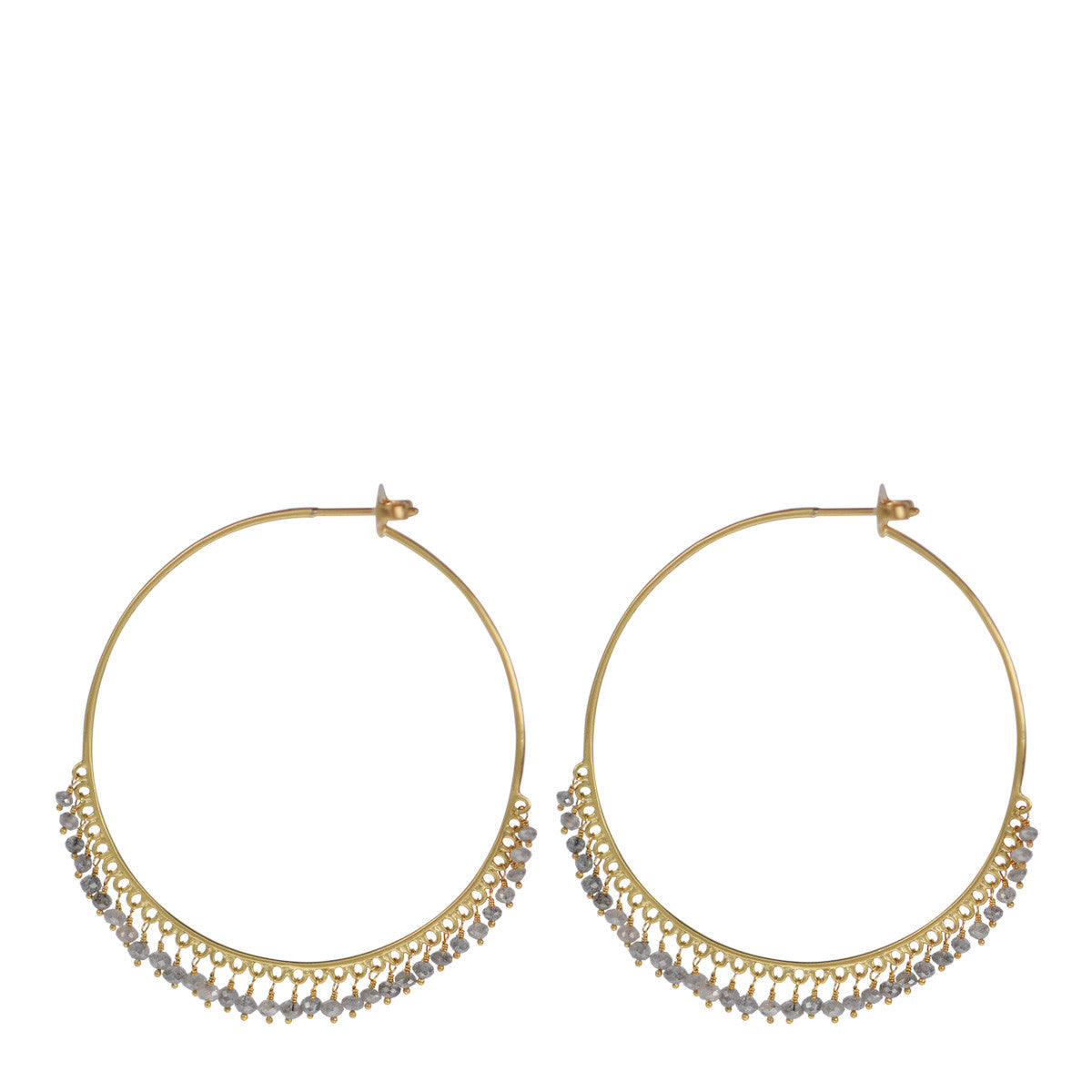 18K Gold Large Grey Diamond Endless Hoop Earrings