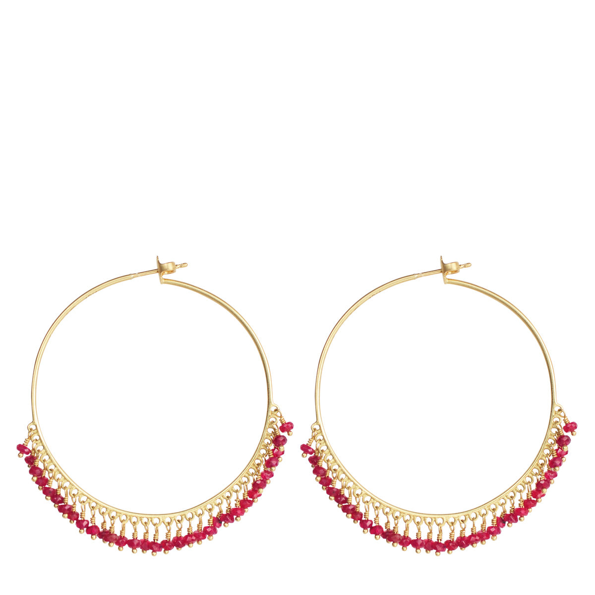18K Gold Large Ruby Endless Hoop Earrings