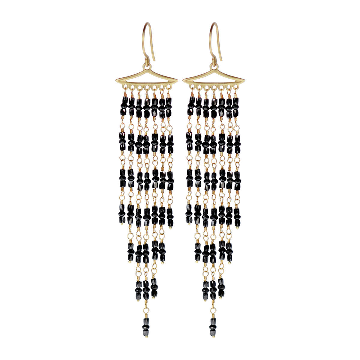 18K Gold Long Graduated Black Diamond Fringe Earrings