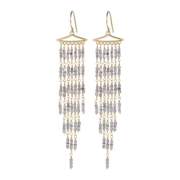 18K Gold Long Graduated Grey Diamond Fringe Earrings