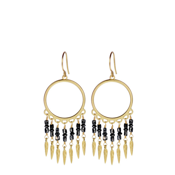 18K Gold Small Black Diamond Dream Catcher Earrings
