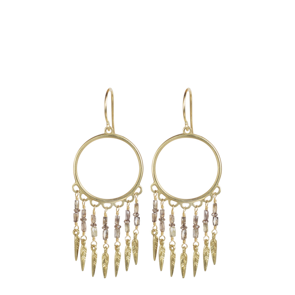 18K Gold Small Brown Diamond Dream Catcher Earrings