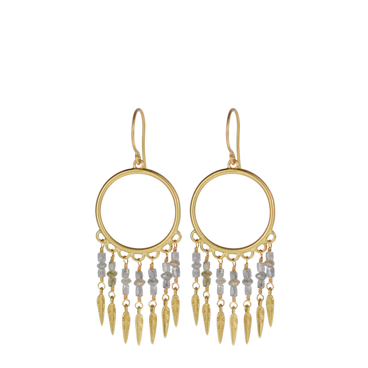 18K Gold Small Grey Diamond Dream Catcher Earrings