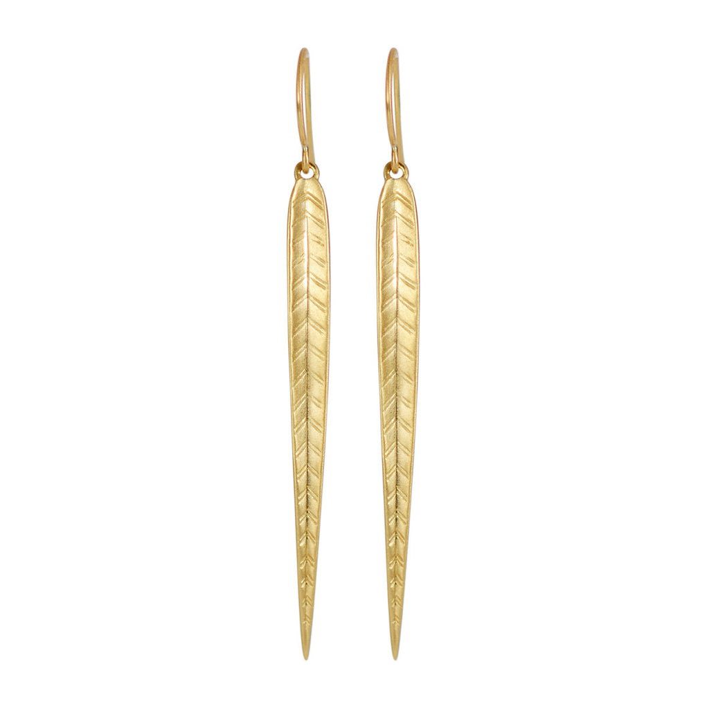 18K Gold Extra Long Leaf Earrings