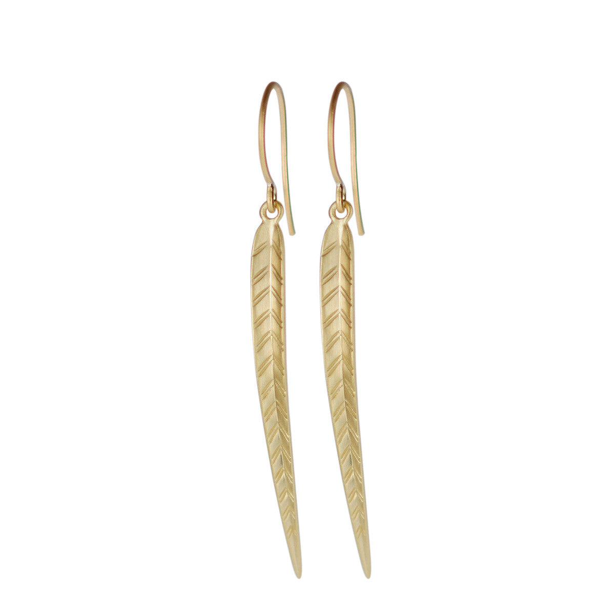 18K Gold Long Leaf Earrings