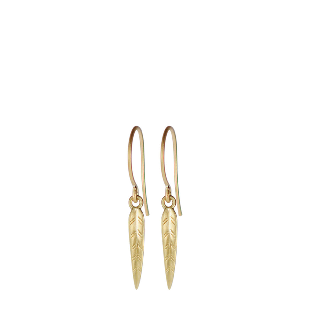18K Gold Short Leaf Earrings
