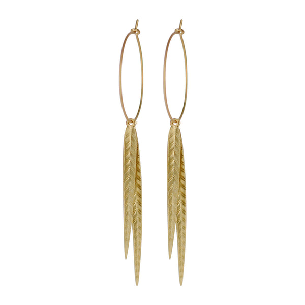18K Gold Extra Large Leaf Hoop Earrings