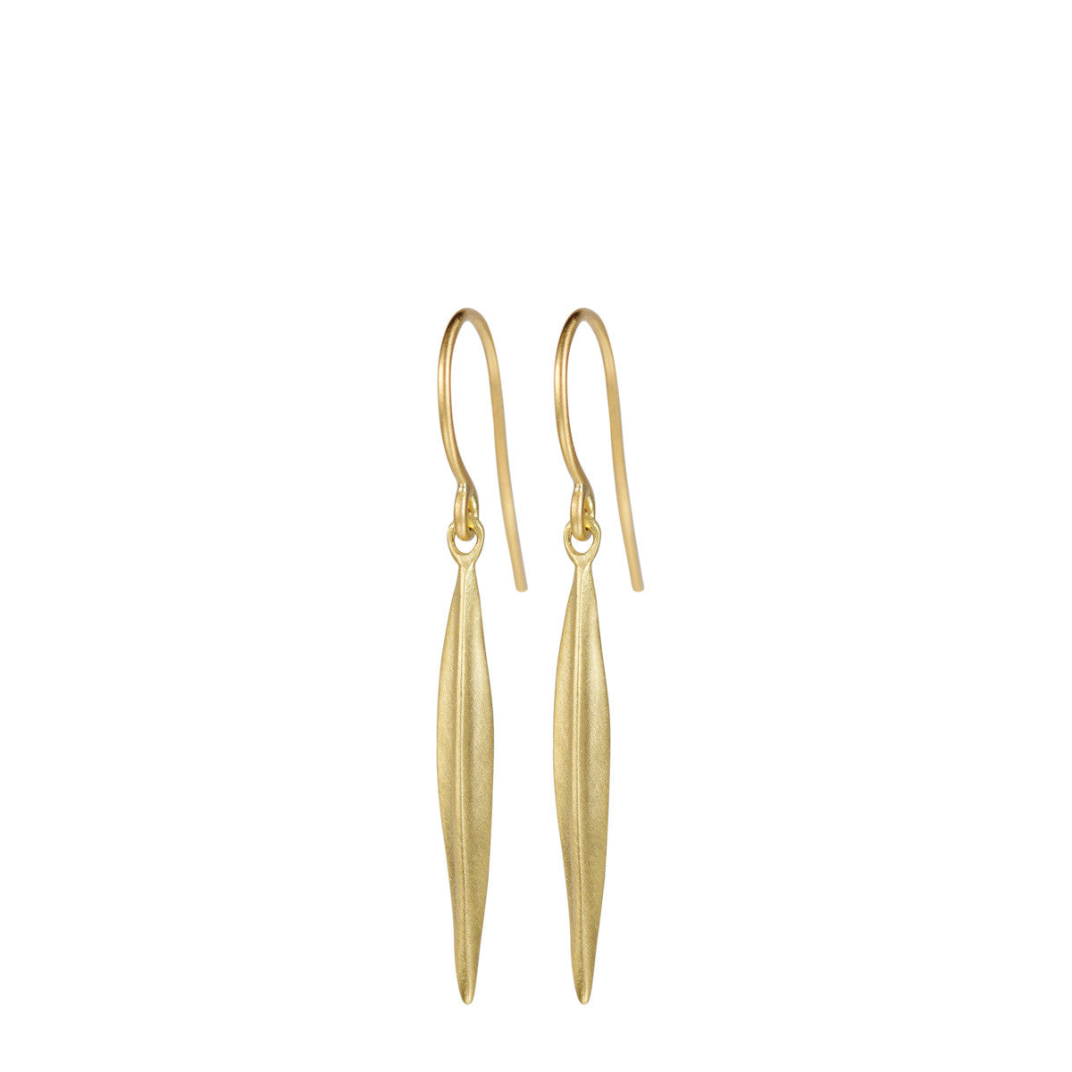 18K Gold Medium Feather Earrings