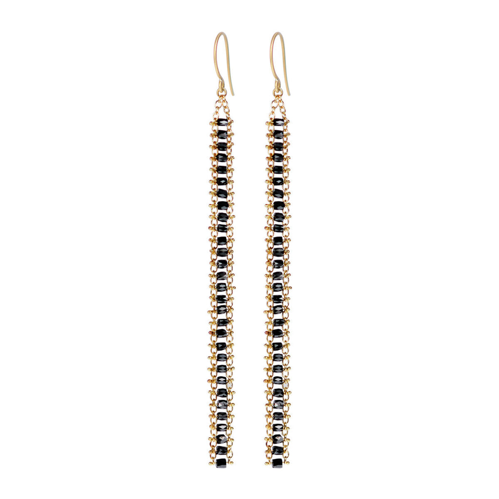 18K Gold Fine Slinky Tube Earrings in Black Diamonds