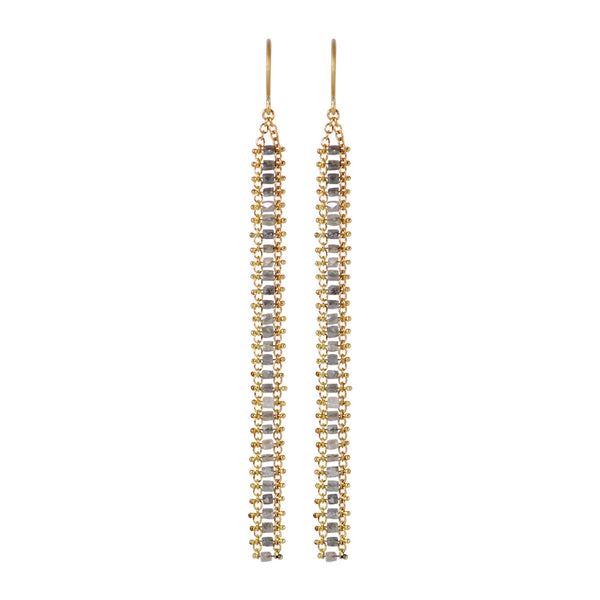 18K Gold Fine Slinky Tube Earring in Grey Diamonds