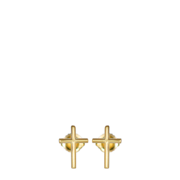 18K Gold Fine Cross Studs