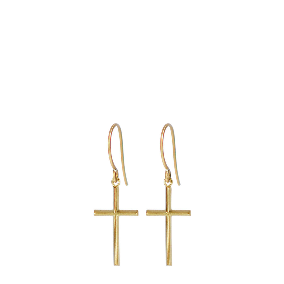 18K Gold Fine Cross Hanging Earrings