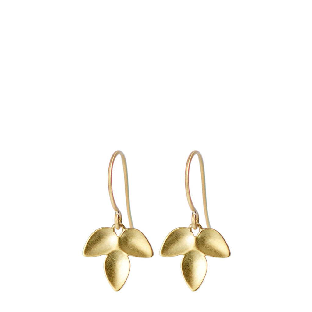 18K Gold Triple Petal Earrings
