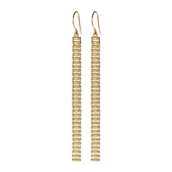 18K Gold Fine Slinky Gold Bar Earring