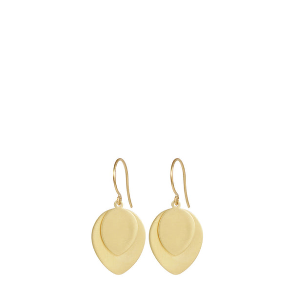 18K Gold Large Double Lotus Petal Earring