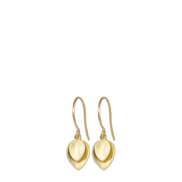 18K Gold Small Double Lotus Petal Earring