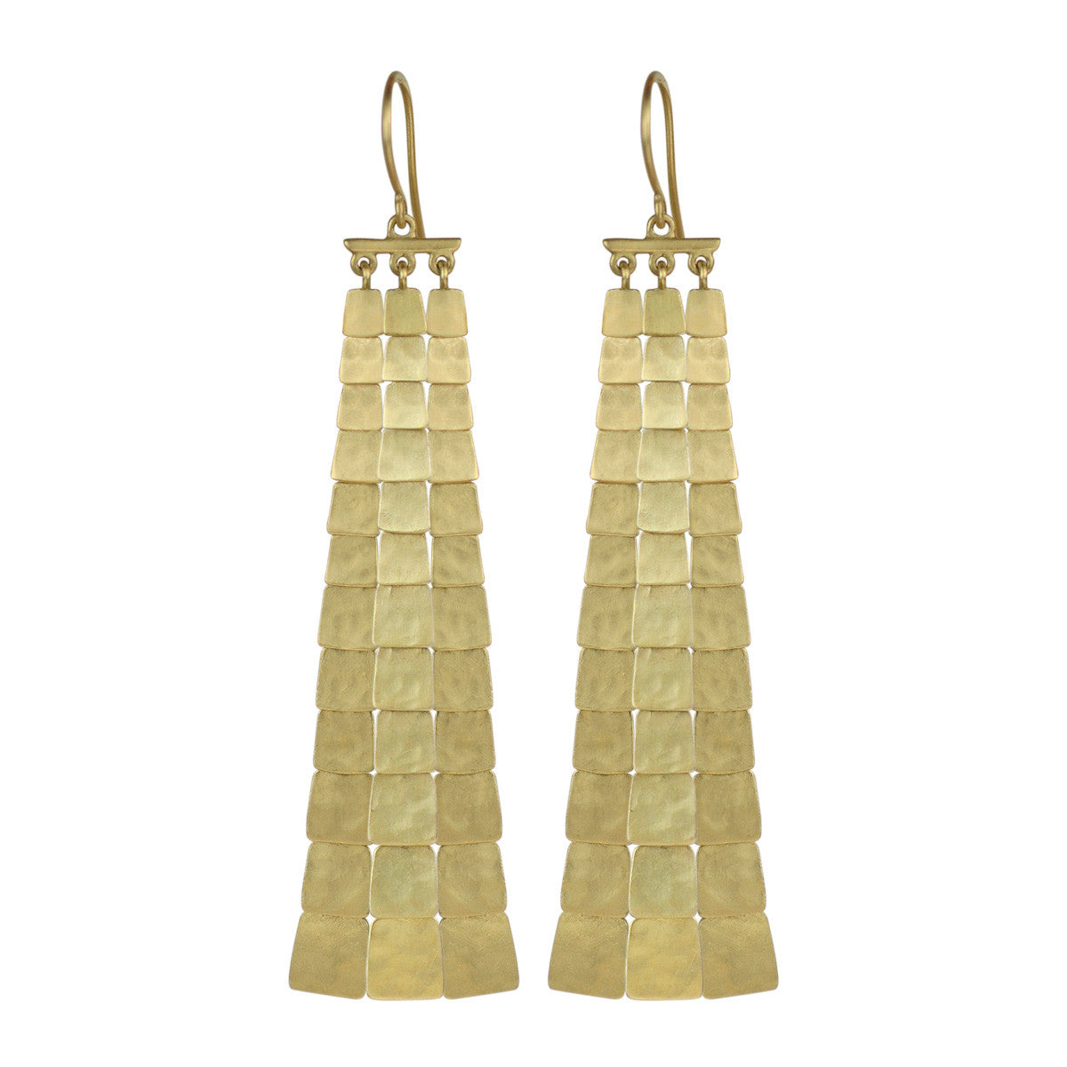 18K Gold Long Sequin Square Earrings