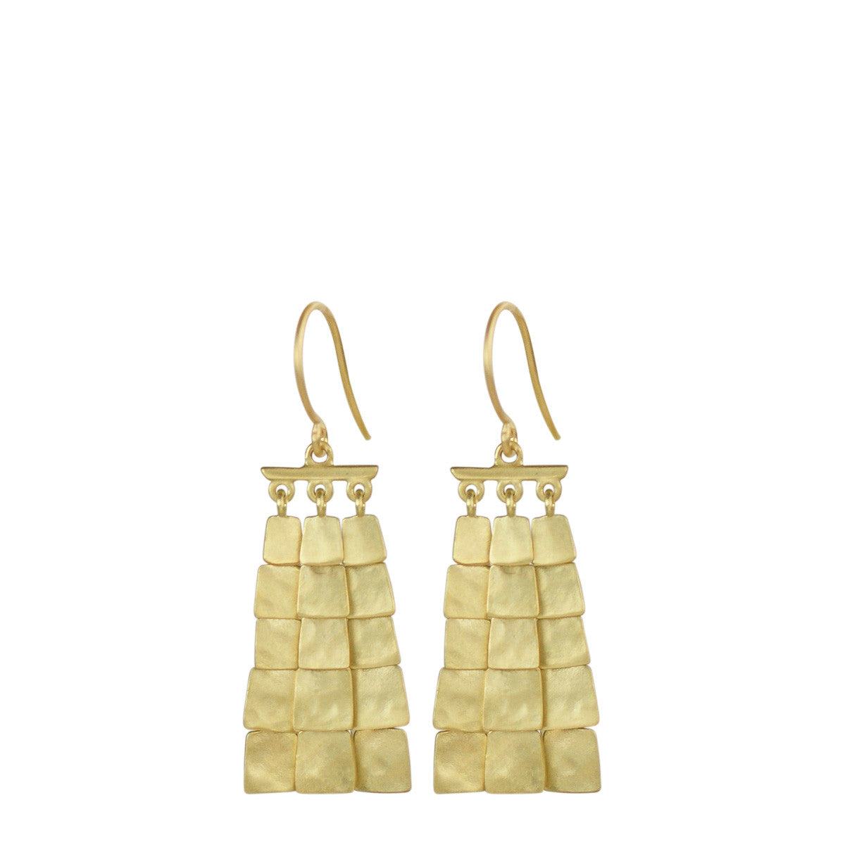 18K Gold Short Sequin Square Earrings