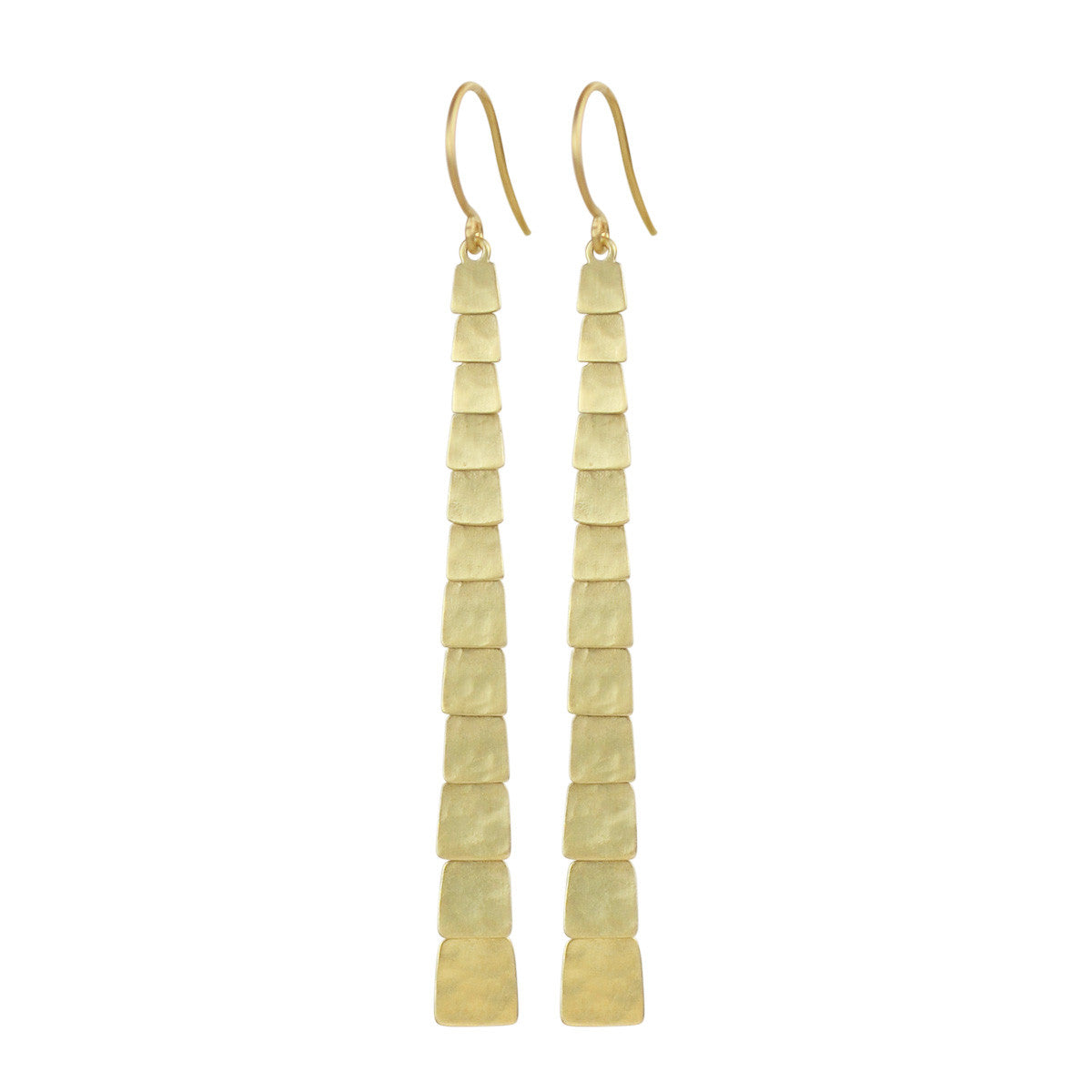 18K Gold Long Single Sequin Square Earrings