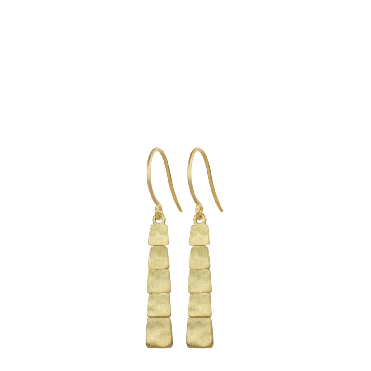 18K Gold Short Single Sequin Square Earrings