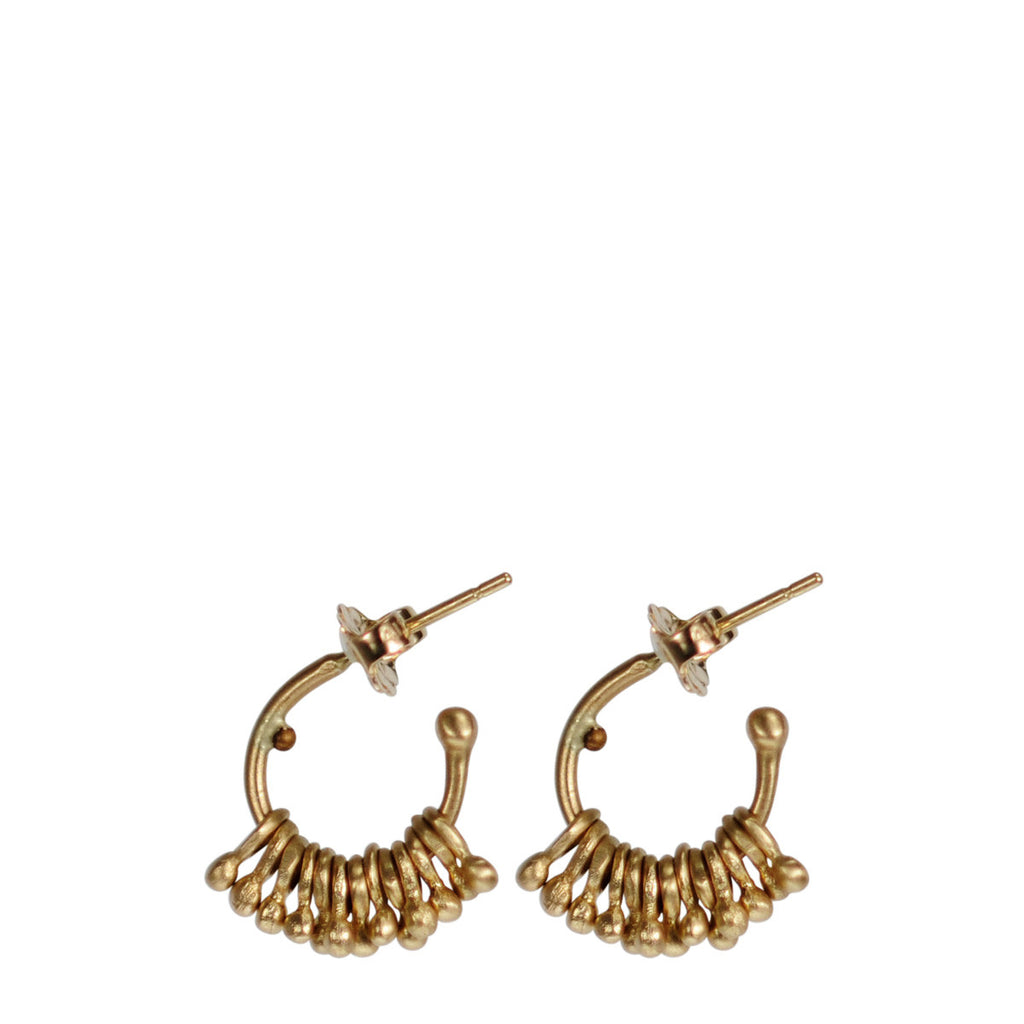 10K Gold Tiny Jumpring with Ball Hoop Earrings