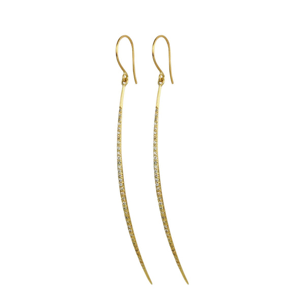 18K Gold Long Half O' Earrings with Diamonds