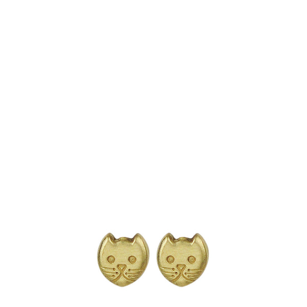 18K Gold Tiny Kitten Stud Earrings