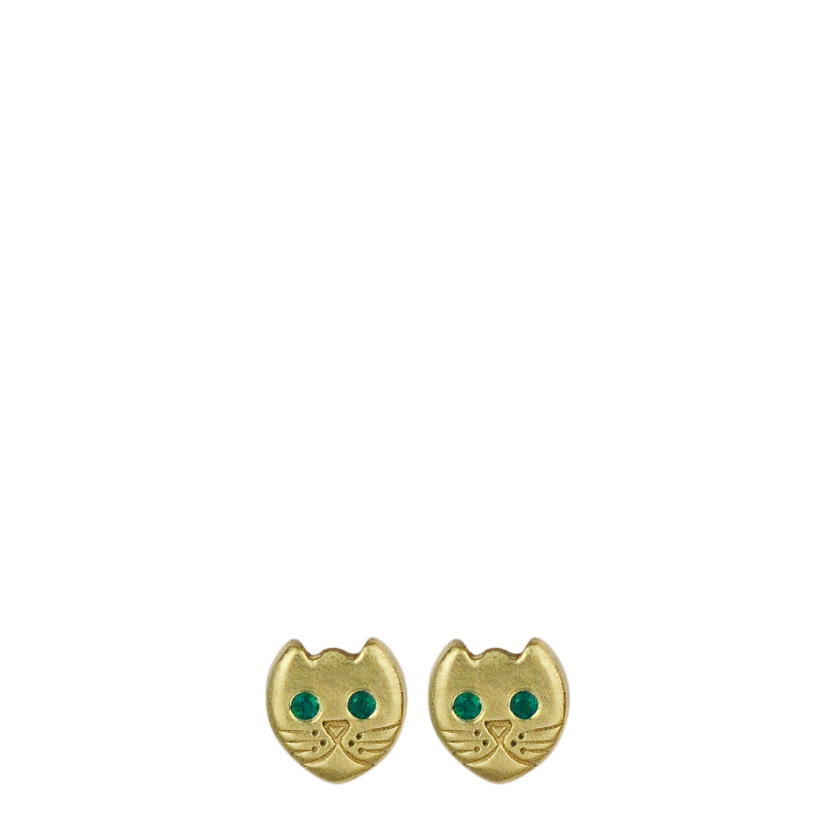 18K Gold Tiny Kitten Stud Earrings with Emerald Eyes