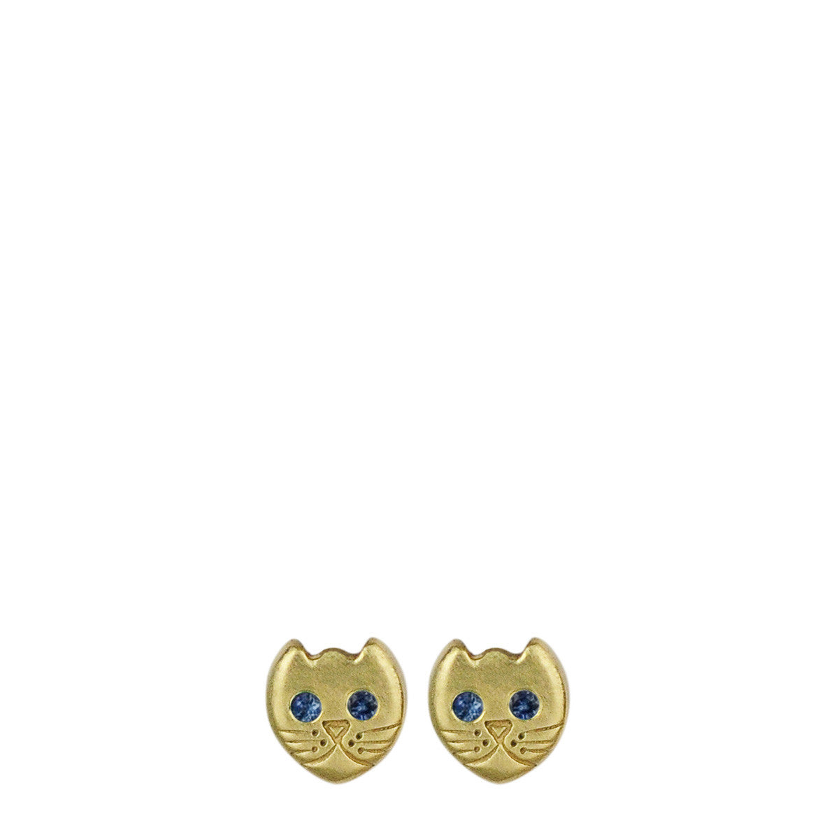 18K Gold Tiny Kitten Stud Earrings with Sapphire Eyes