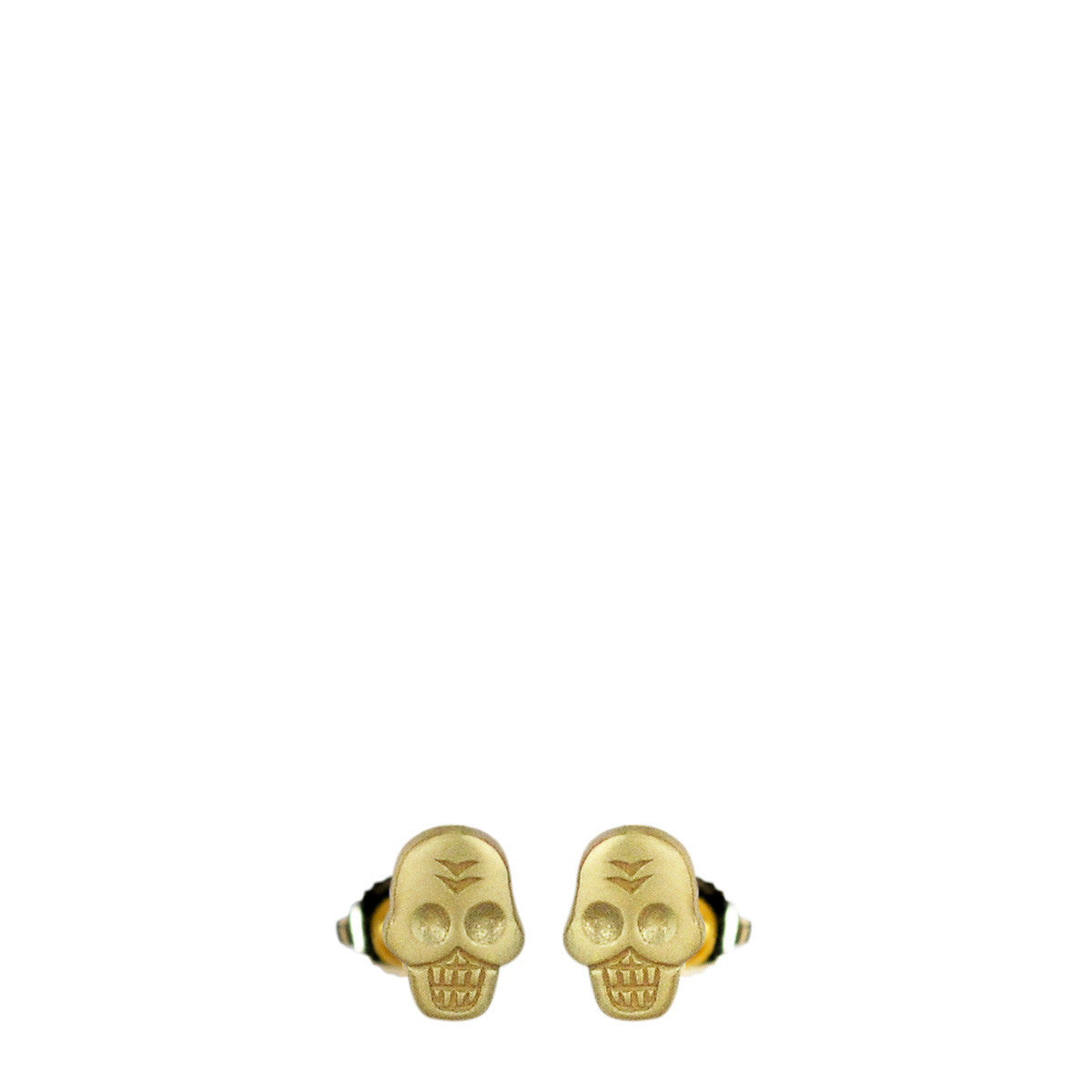 18K Gold Mini Skull Stud Earrings