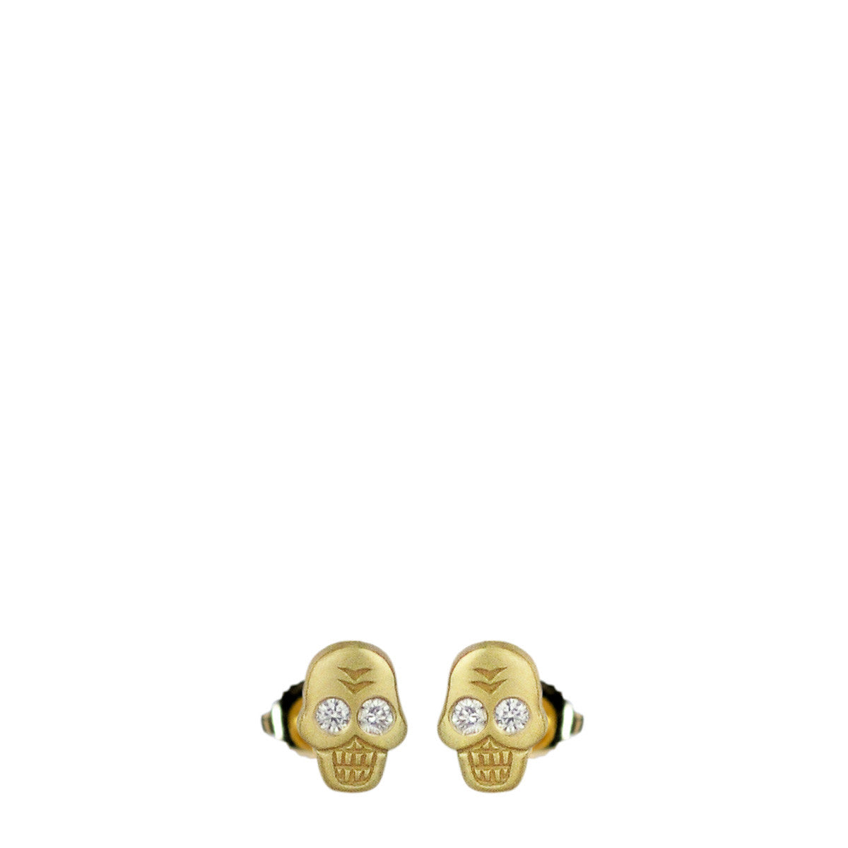 18K Gold Mini Skull Stud Earrings with Diamond Eyes