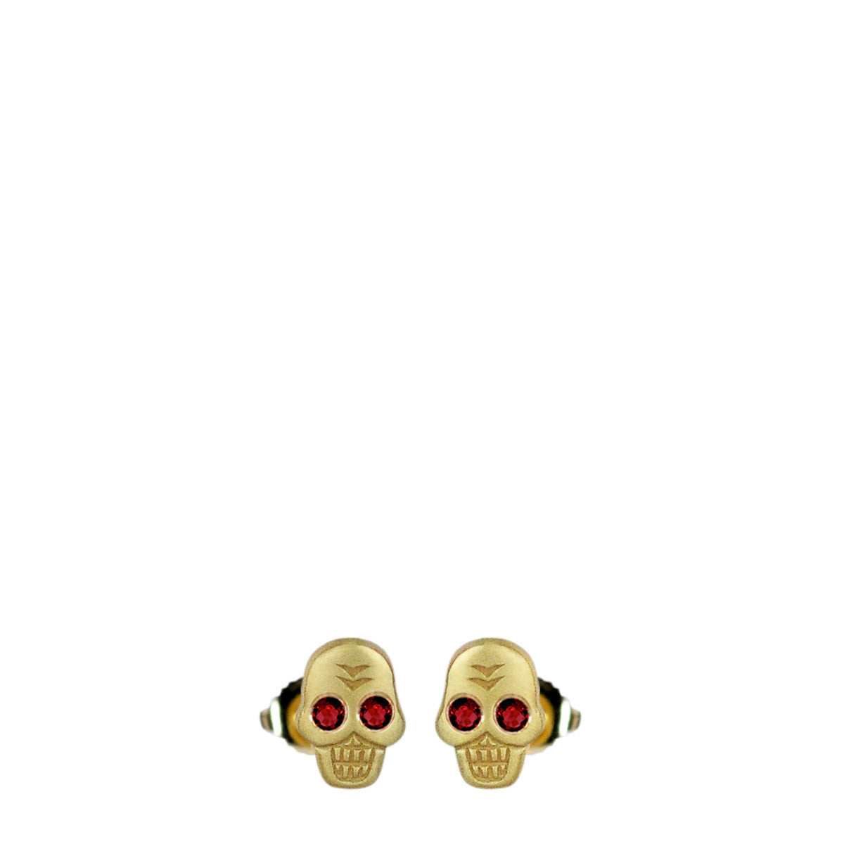 18K Gold Mini Skull Stud Earrings with Ruby Eyes