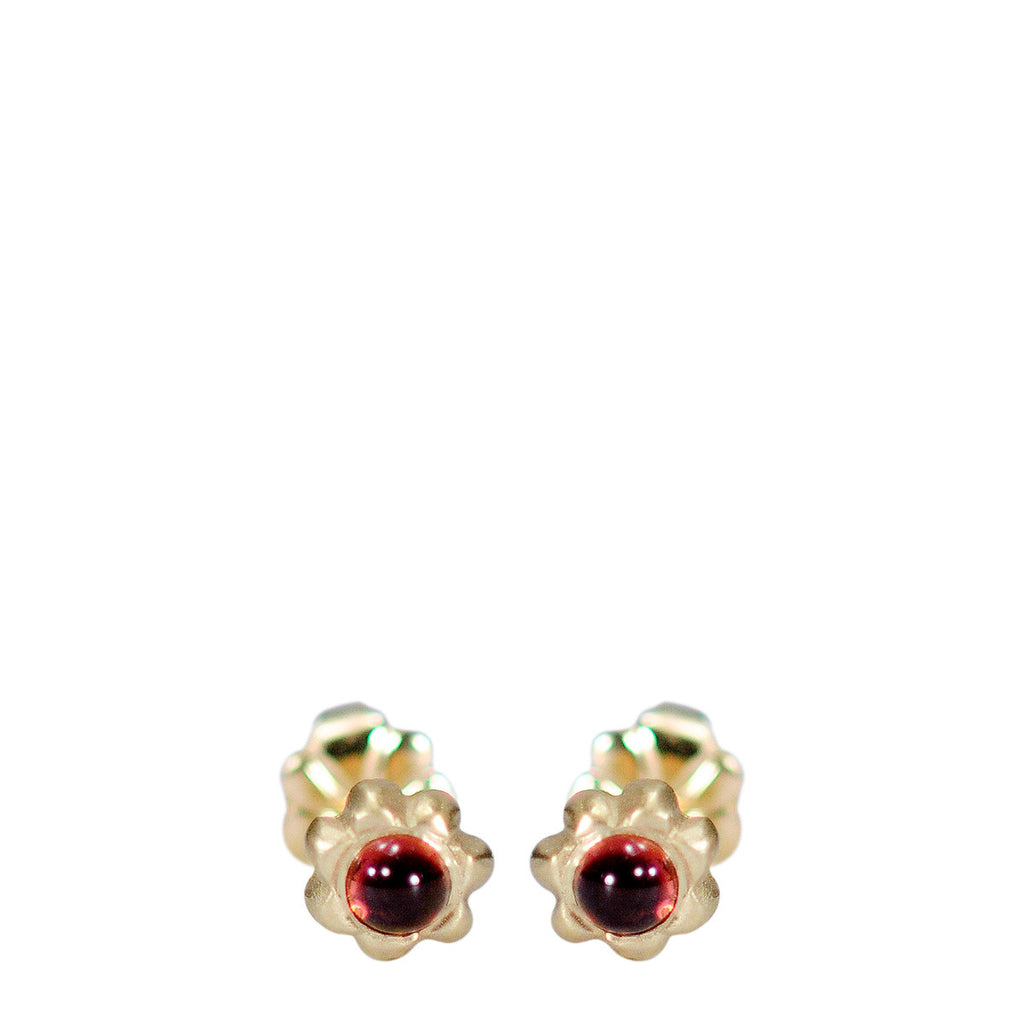10K Gold Tiny Star Flower Stud with Garnet