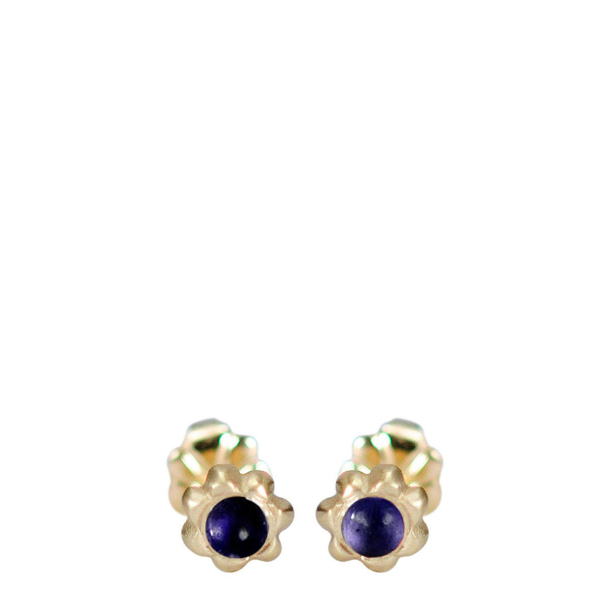 10K Gold Tiny Star Flower Stud with Iolite