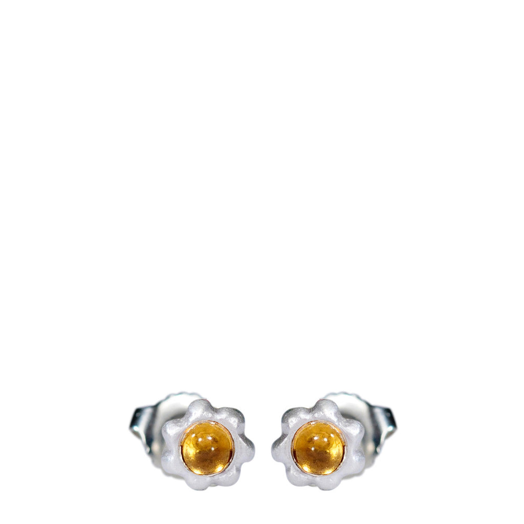 Sterling Silver Tiny Star Flower Stud with Citrine