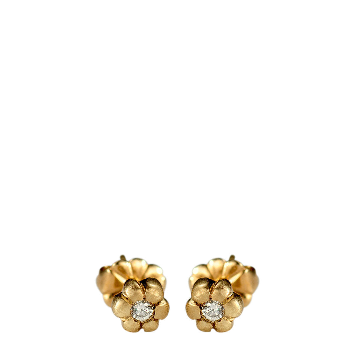 10K Gold Tiny Flower Stud Earrings with Diamonds