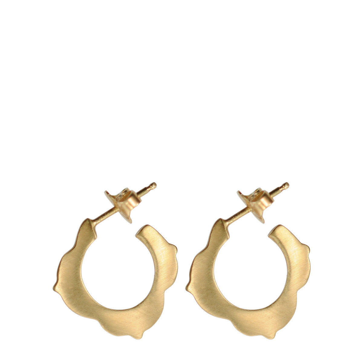 10K Gold Small Lotus Hoop Earrings