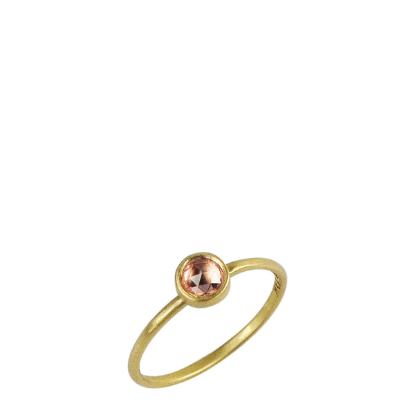 18K Gold Tiny Orange Sapphire Ring